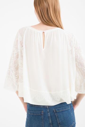 Solid Colour cotton blend blouse, Milky White, hi-res