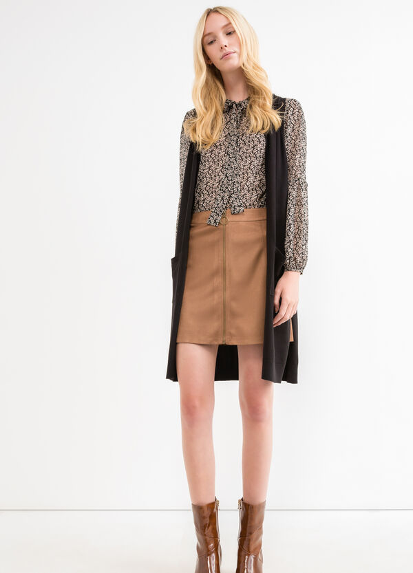 High-waisted skirt with suede effect | OVS