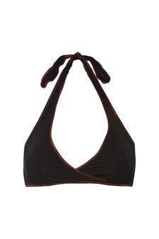 Solid colour stretch triangular top, Black, hi-res