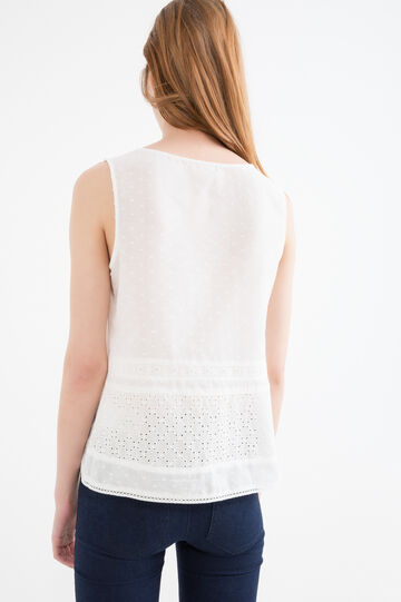 Blusa puro cotone plissettata, Bianco, hi-res