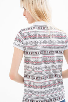 Stretch cotton polo shirt with pattern, White, hi-res