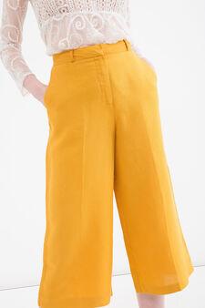 Pantaloni palazzo misto lino, Giallo oro, hi-res
