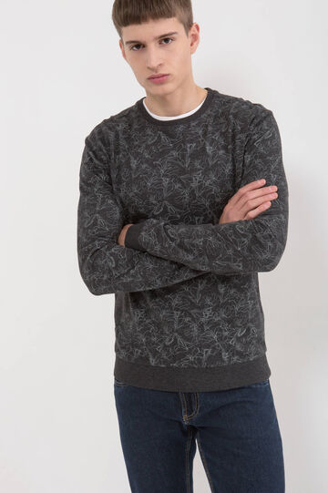 Cotton blend patterned sweatshirt, Black, hi-res