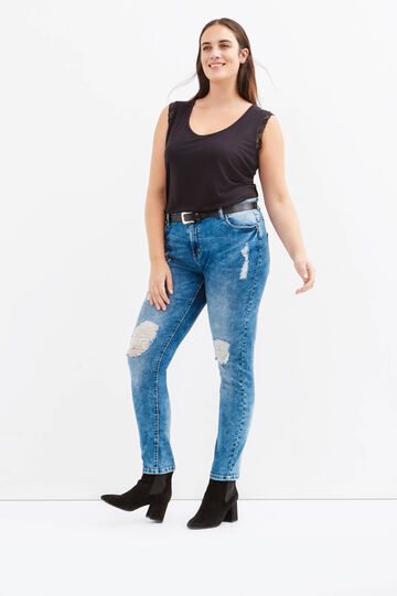 Jeans stretch con strappi Curvy, Denim, hi-res