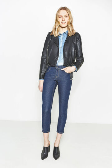 Skinny-fit, cropped stretch jeans, Denim Blue, hi-res