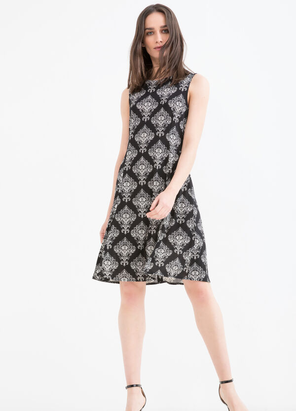 Patterned sleeveless dress in stretch viscose | OVS