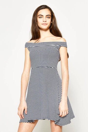 Teen striped dress with boat neck
