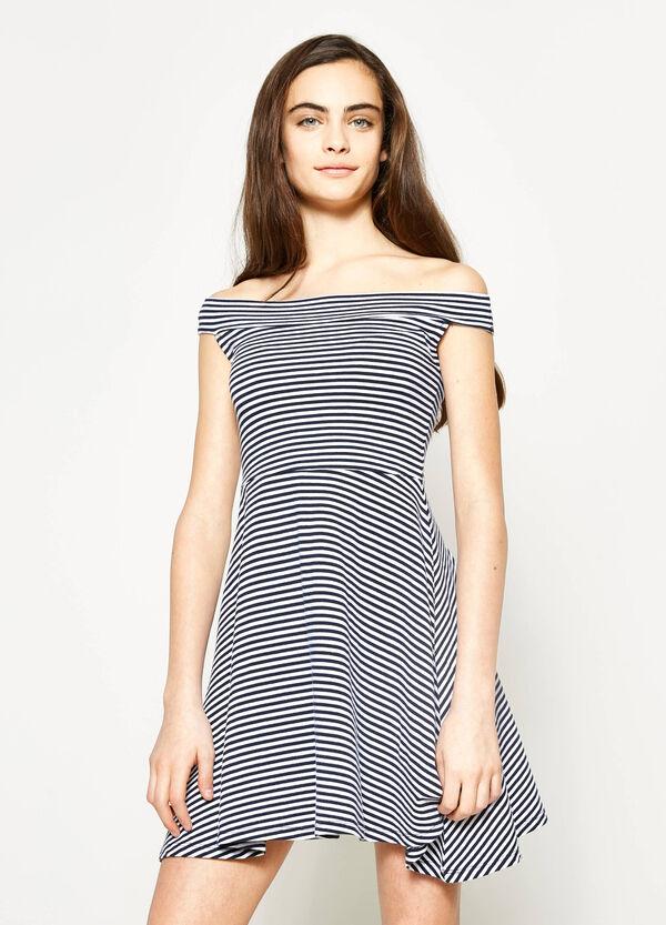 Vestido de rayas con escote barco Teen | OVS