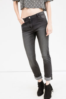 Slim fit jeans with whiskering and turn-ups, Black, hi-res