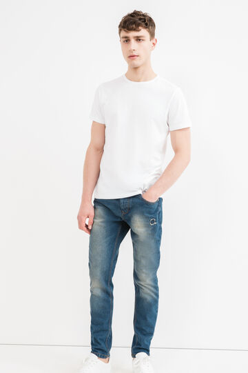 Worn-effect, loose-fit ripped jeans, Dark Wash, hi-res