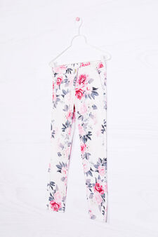 Stretch floral trousers, White, hi-res