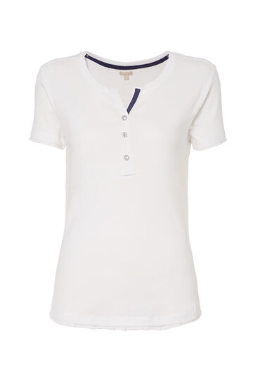 T-shirt bottoni strass Smart Basic, Bianco, hi-res