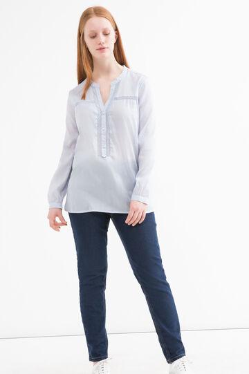 Curvy solid colour blouse., Light Blue, hi-res