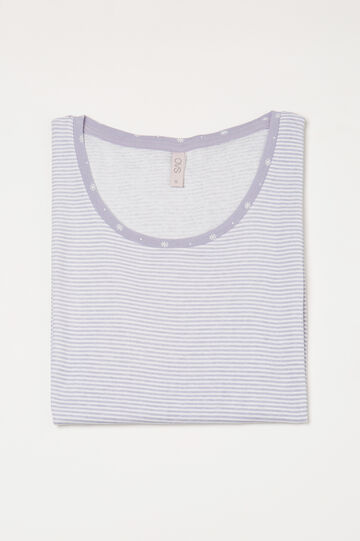 Pyjama top in 100% cotton with stripes, Lilac, hi-res