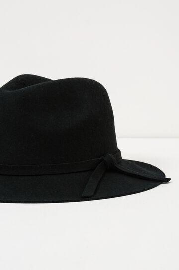 Wide-brim hat with bow, Black, hi-res