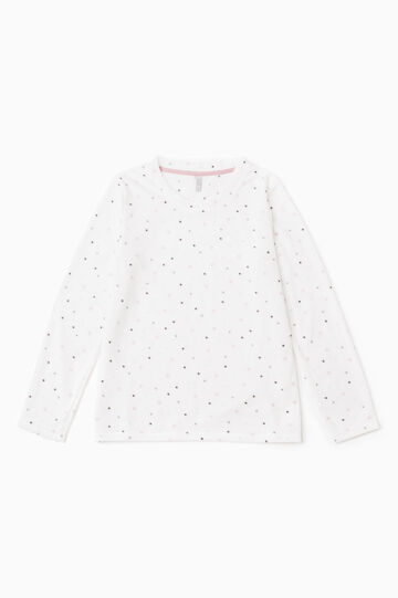 Fleece pyjama top with stars and polka dots, Cream White, hi-res