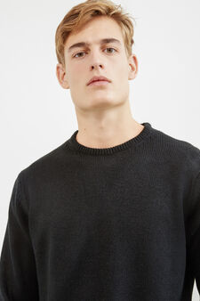 Solid colour pullover with round neck, Black, hi-res