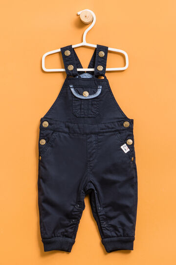 Dungarees with ribbed ankles, Navy Blue, hi-res