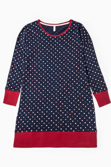 Polka dot cotton nightshirt, Navy Blue, hi-res