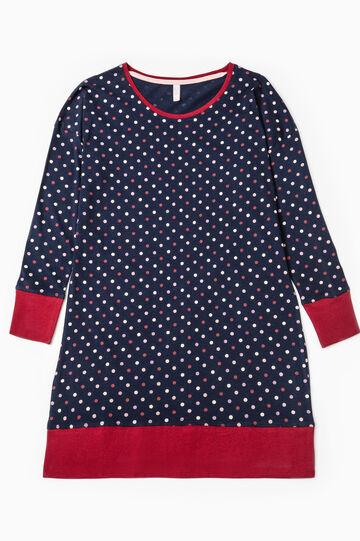 Camicia da notte cotone a pois, Blu navy, hi-res