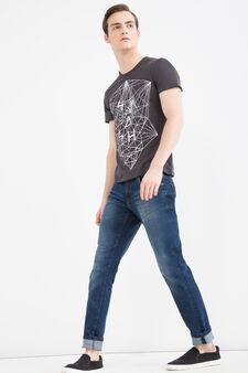 T-shirt in puro cotone stampata, Grigio fumo, hi-res