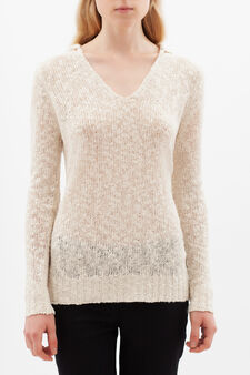 Knitted sweater with V neck, Ecru, hi-res