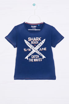 Printed T-shirt in 100% cotton, Blue, hi-res