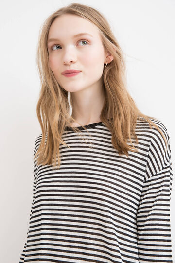 Striped 100% viscose long T-shirt, Black/White, hi-res
