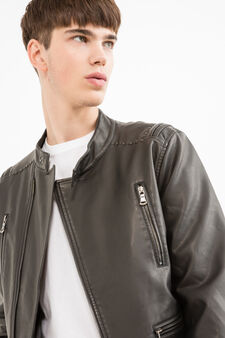 Leather look jacket with studs, Black, hi-res