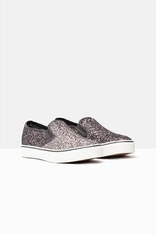 Slip-on glitter sneakers, Dark Grey, hi-res