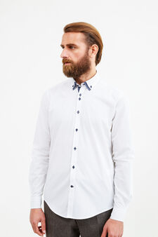 Slim-fit polka dot formal shirt, White, hi-res