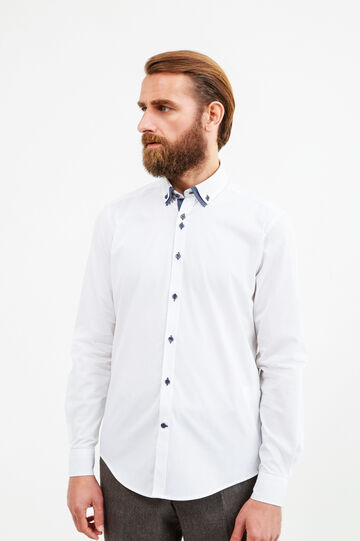 Slim-fit polka dot formal shirt, White, hi-res