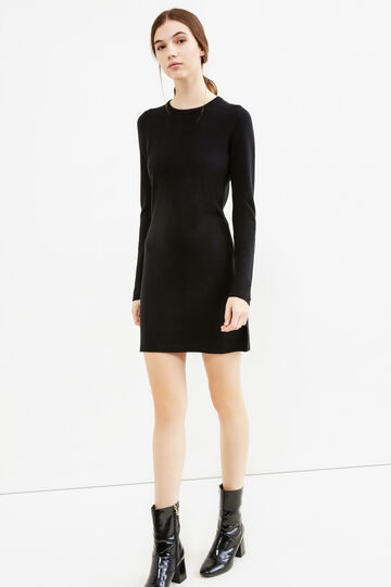 Dress with round neck and zip on back, Black, hi-res