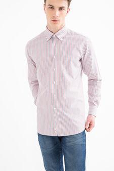 Regular-fit, striped shirt, Red, hi-res