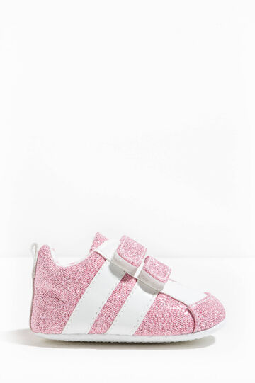 Glitter sneakers with Velcro fastening, Pink, hi-res