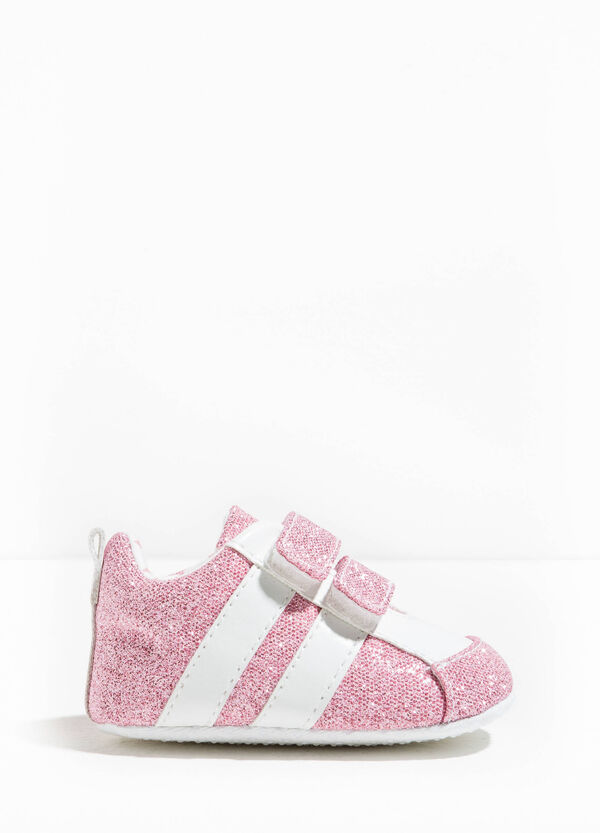 Glitter sneakers with Velcro fastening | OVS