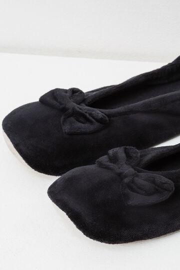 Pantofole ballerine con fiocco, Nero, hi-res