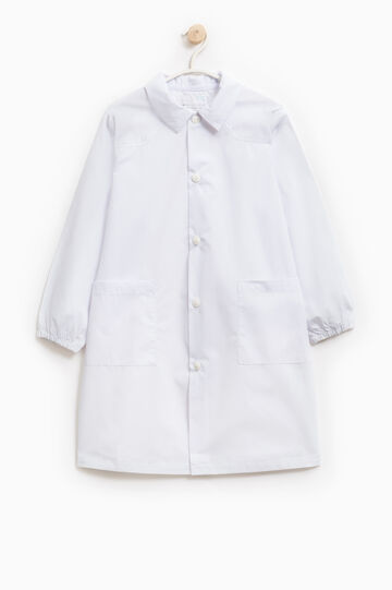 Cotton blend smock with elasticated cuffs, White, hi-res