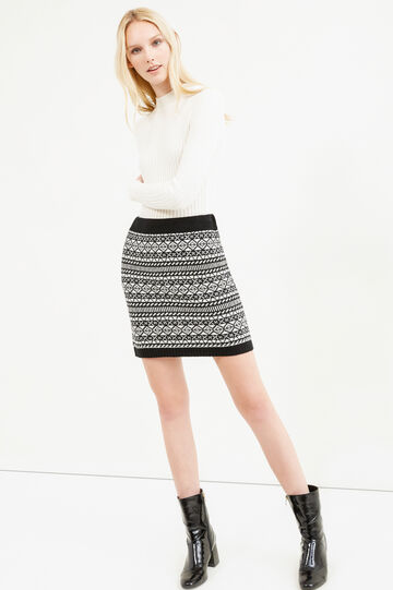 Pencil skirt with geometric pattern, White/Black, hi-res