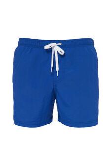 Solid colour swim boxer shorts with drawstring, Cornflower Blue, hi-res