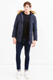 Jacket with hood and faux fur, Navy Blue, hi-res