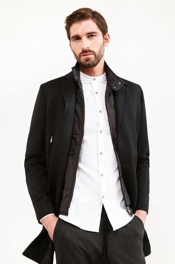 Cappotto misto lana con revers, Nero, hi-res