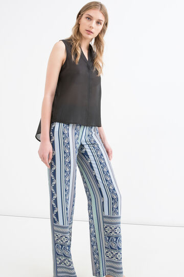 High-waisted printed stretch trousers