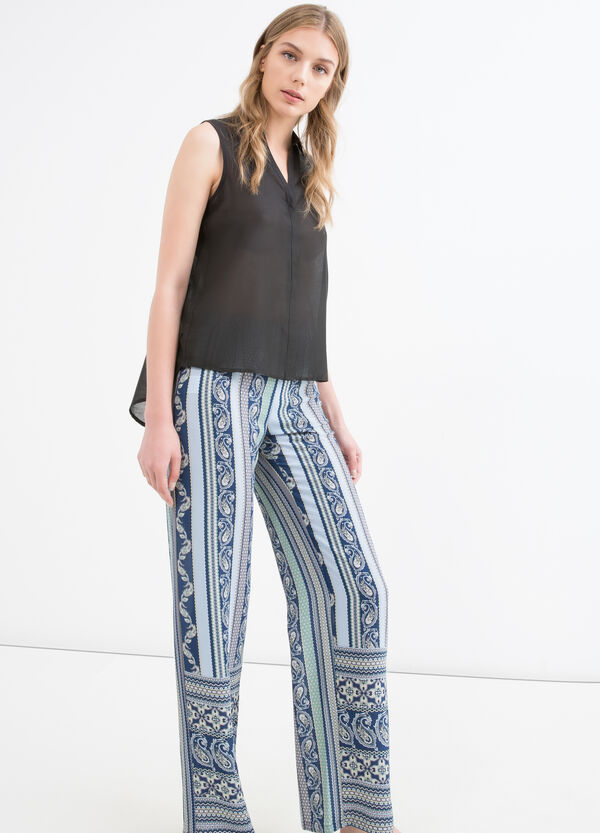 High-waisted printed stretch trousers | OVS