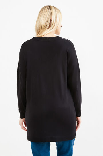 Curvy knit pullover with studs, Black, hi-res