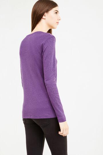 Diamanté T-shirt in 100% cotton, Purple, hi-res