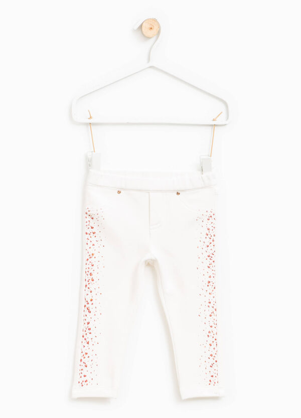 Stretch cotton trousers with glitter | OVS