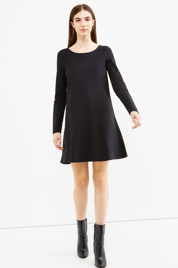 Short dress in stretch cotton, Black, hi-res