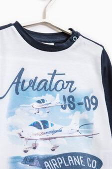 T-shirt misto cotone maxi stampa, Blu chiaro, hi-res
