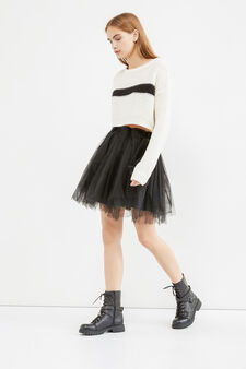 Solid colour short skirt in tulle, Black, hi-res